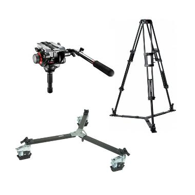 Manfrotto 546GB Tripod with 504HD Head and Dolly Wheels