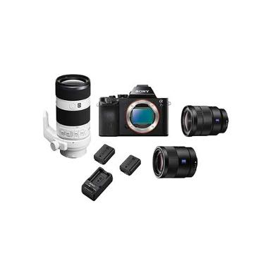 Package Showing Sony a7S Camera with 2 Lenses and Batteries