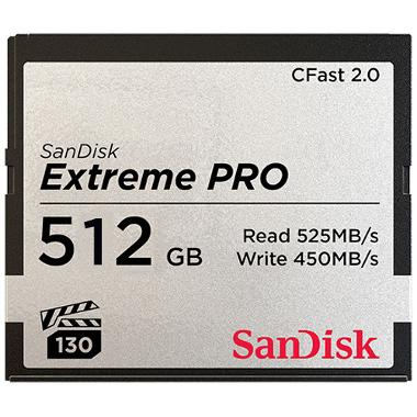 SanDisk 512GB CFast 2.0 Extreme Pro 525MB/s Memory Card
